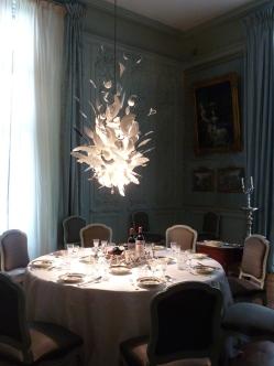 Modern chandelier in Waddeson Manor