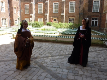 Chapel Court Garden with actors playing Jane Seymour and Lady Rochford