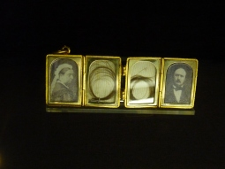 Minatures of Queen Victoria and Prince Albert and locks of their hair in Kensington Palace