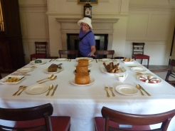 Julie-ann in front of mock feast - Kew Palace