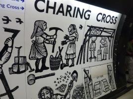 Art on wall at Charing Cross Tube Station
